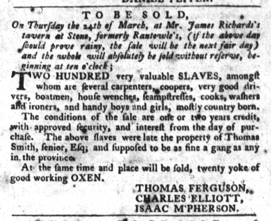 Mar 8 - South-Carolina Gazette and Country Journal Slavery 2