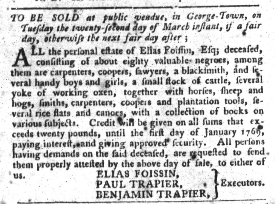 Mar 8 - South-Carolina Gazette and Country Journal Slavery 7
