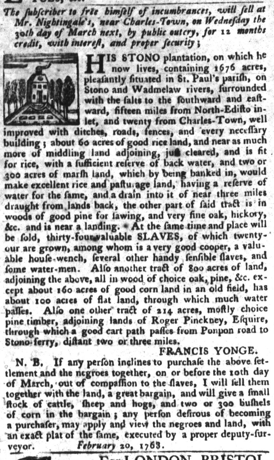 Mar 8 - South-Carolina Gazette and Country Journal Supplement Slavery 6
