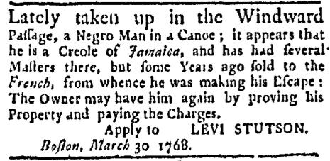Apr 11 - Boston Evening-Post Slavery 1