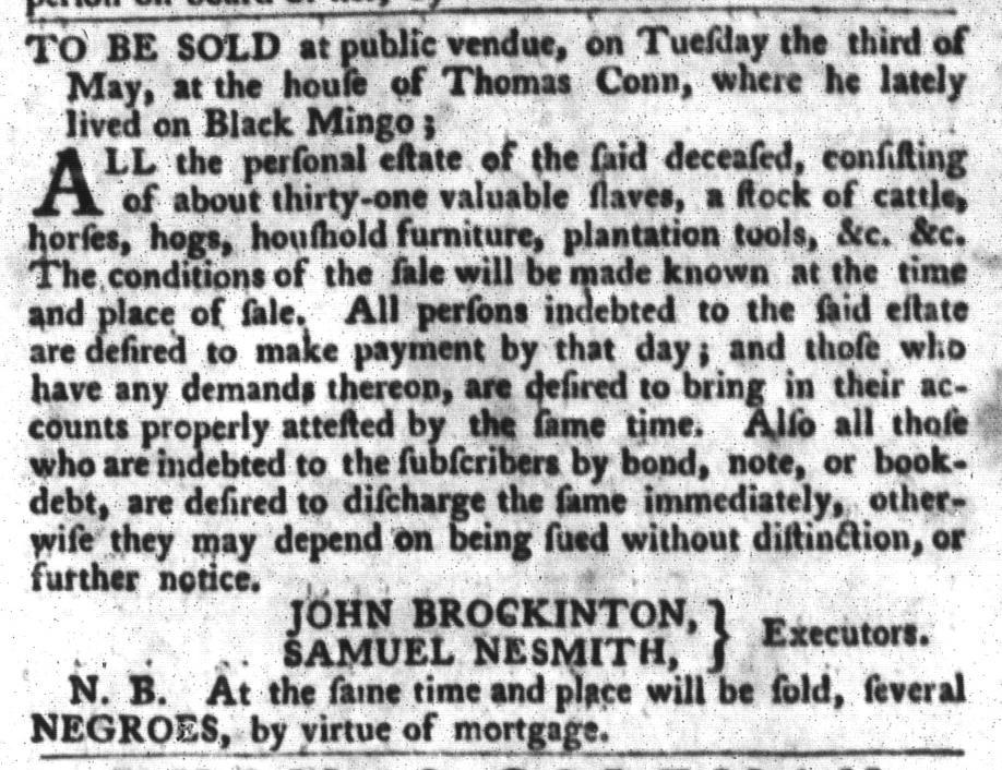 Apr 19 - South-Carolina Gazette and Country Journal Slavery 4