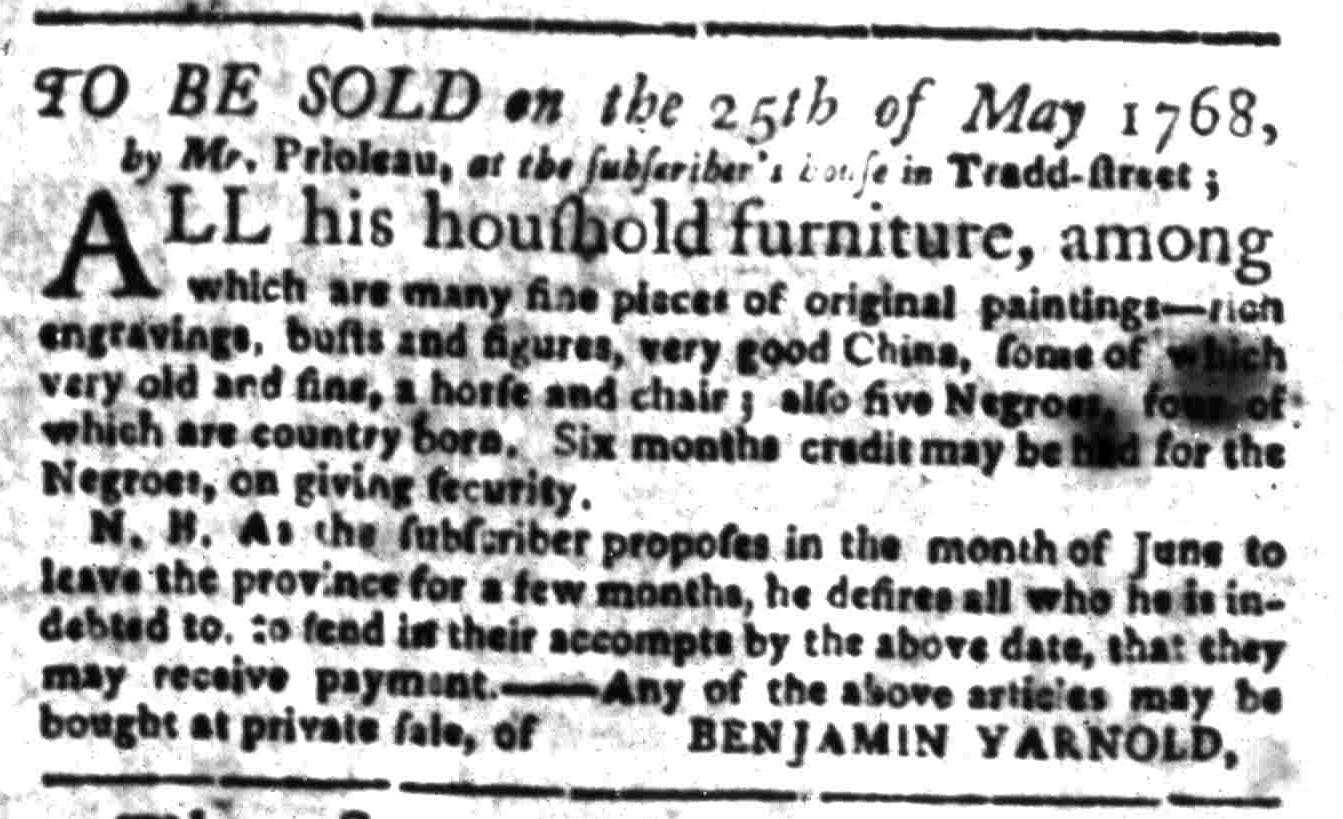 Apr 25 - South Carolina Gazette Slavery 1