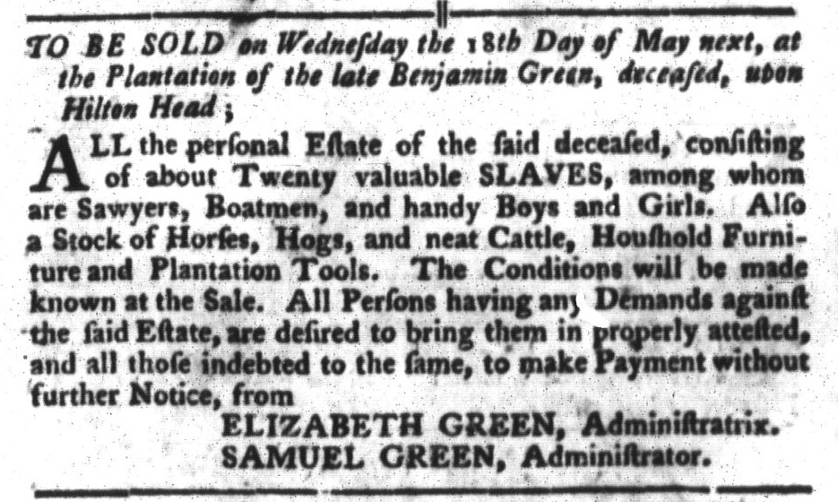 Apr 26 - South-Carolina Gazette and Country Journal Slavery 3