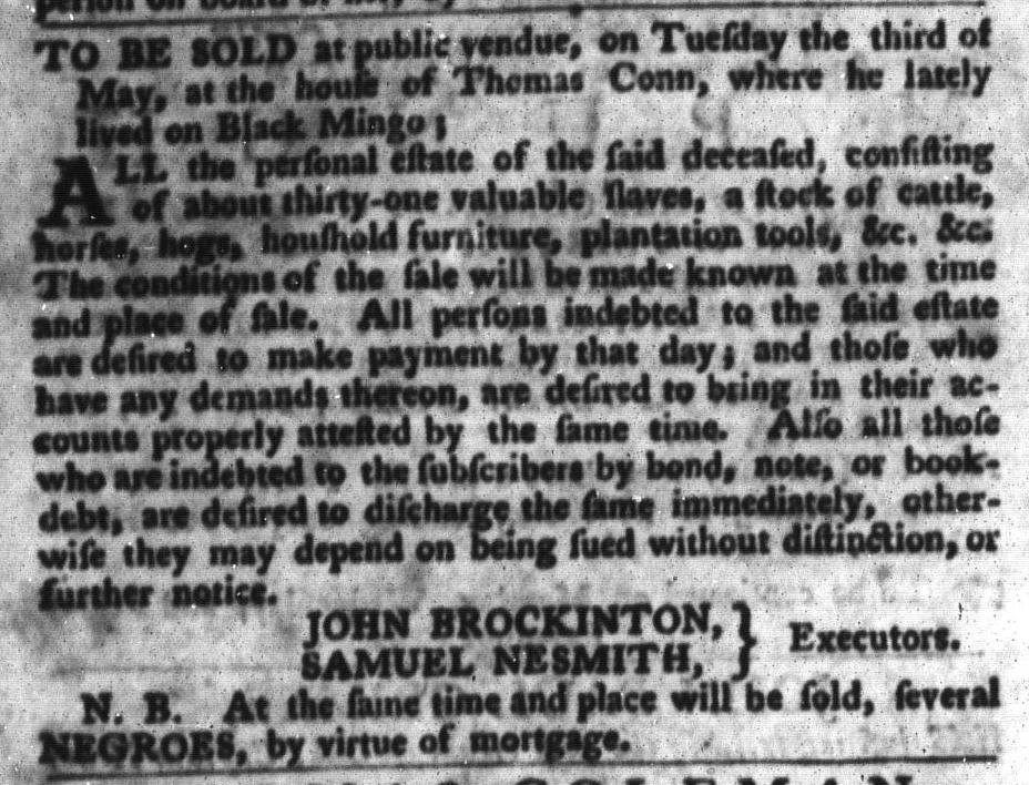 Apr 26 - South-Carolina Gazette and Country Journal Slavery 7