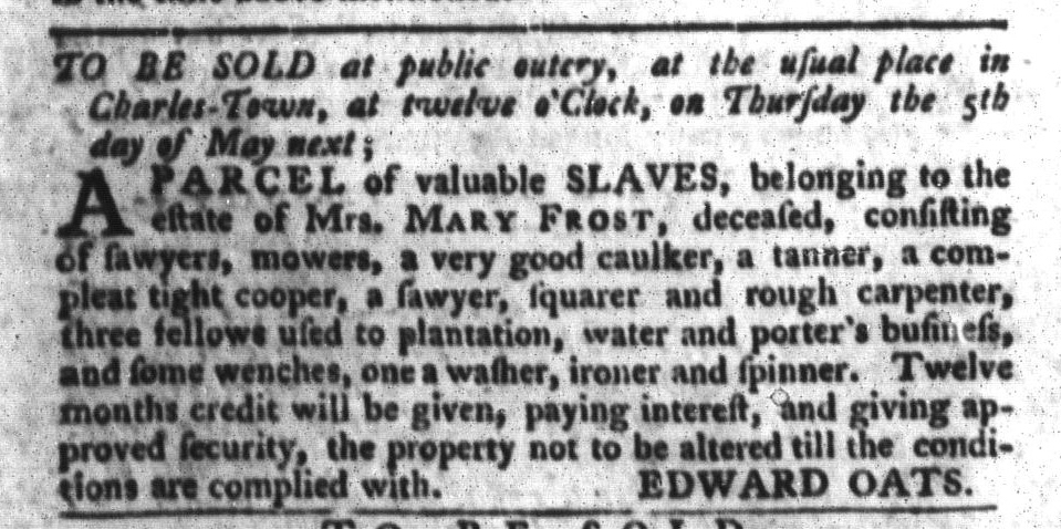 Apr 26 - South-Carolina Gazette and Country Journal Slavery 9