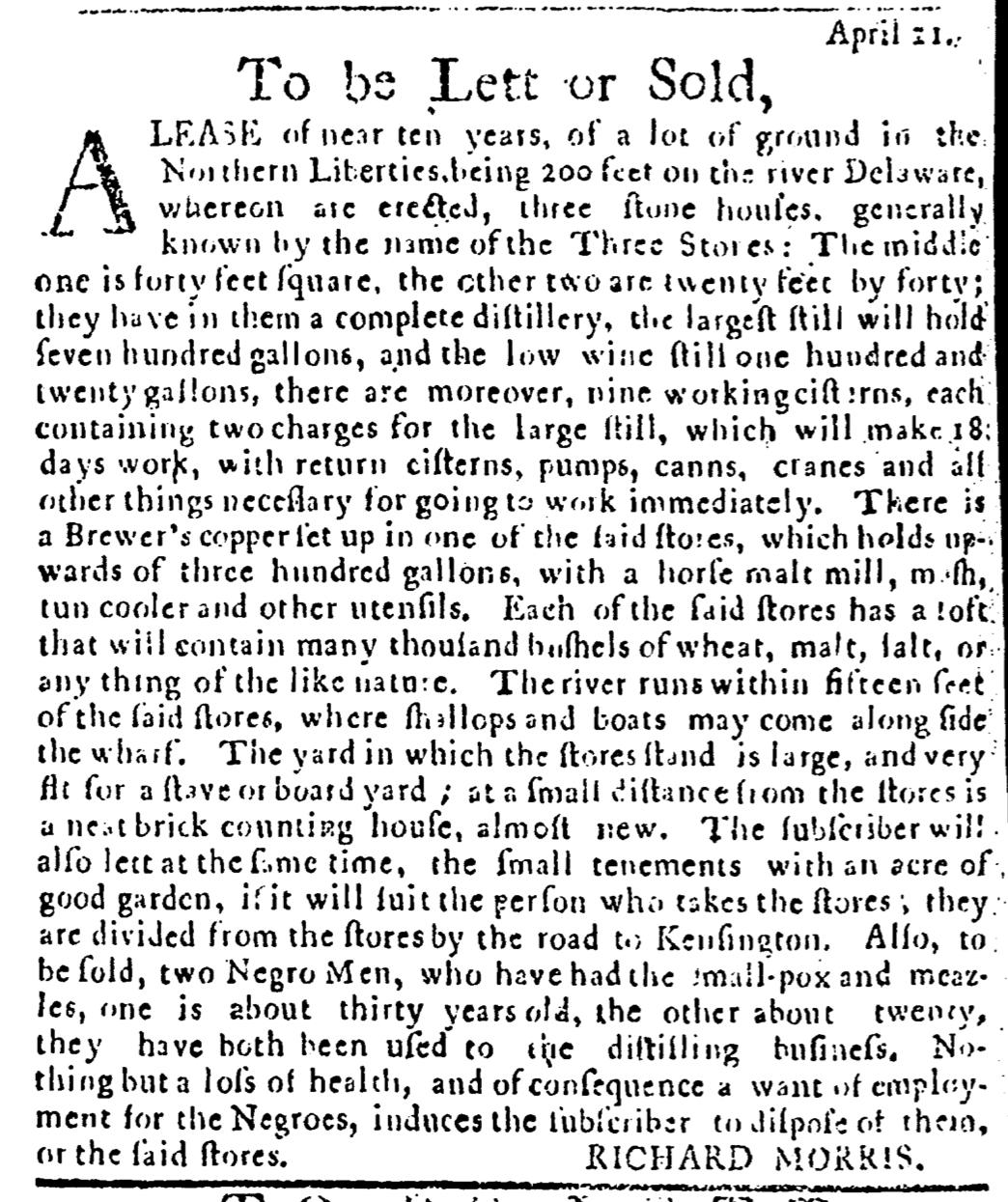 Apr 28 - Pennsylvania Journal Slavery 1