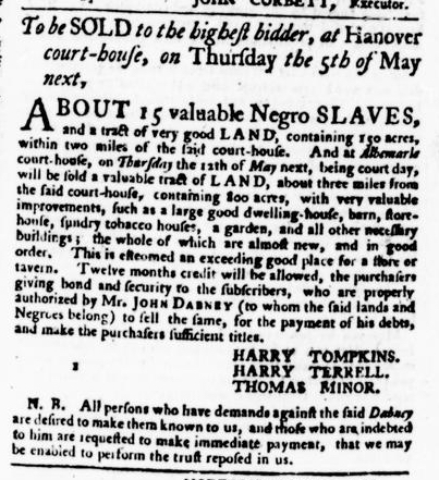 Apr 28 - Virginia Gazette Purdie and Dixon Slavery 1