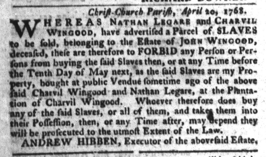 May 3 - South-Carolina Gazette and Country Journal Supplement Slavery 4