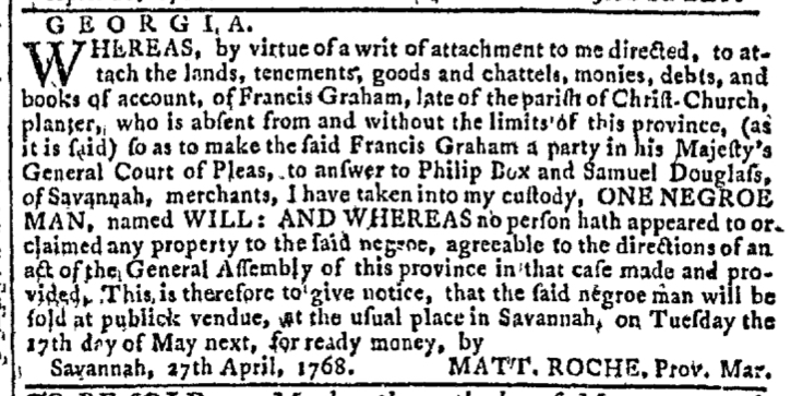 May 4 - Georgia Gazette Slavery 3