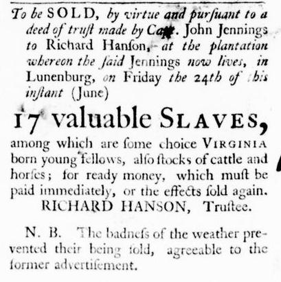 Jun 2 - Virginia Gazette Purdie and Dixon Slavery 1