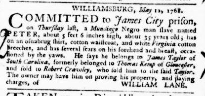 Jun 2 - Virginia Gazette Purdie and Dixon Slavery 6