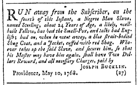 Jun 4 - Providence Gazette Slavery 1