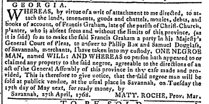 May 11 - Georgia Gazette Slavery 3