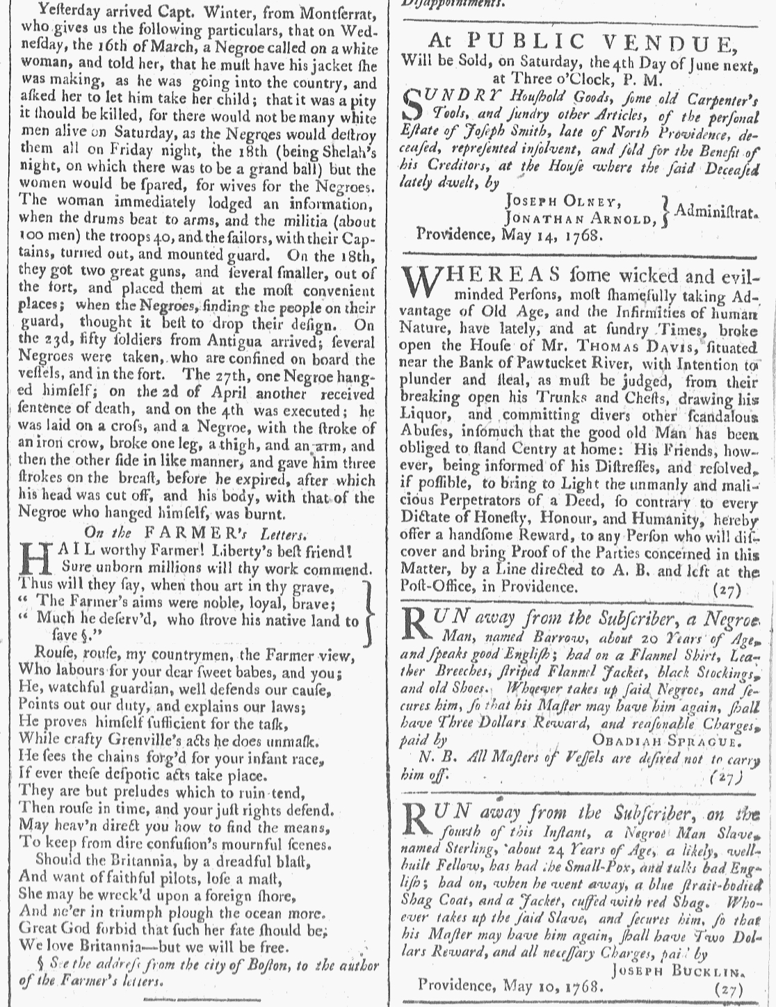 May 14 - Slave Revolt 5:14:1768 Providence Gazette