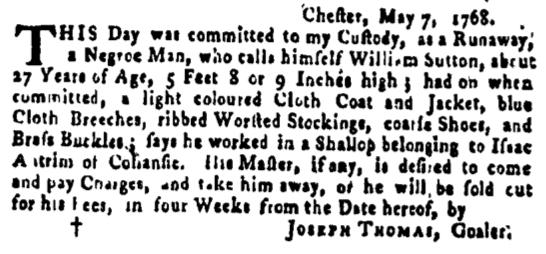 May 19 - Pennsylvania Gazette Supplement Slavery 1