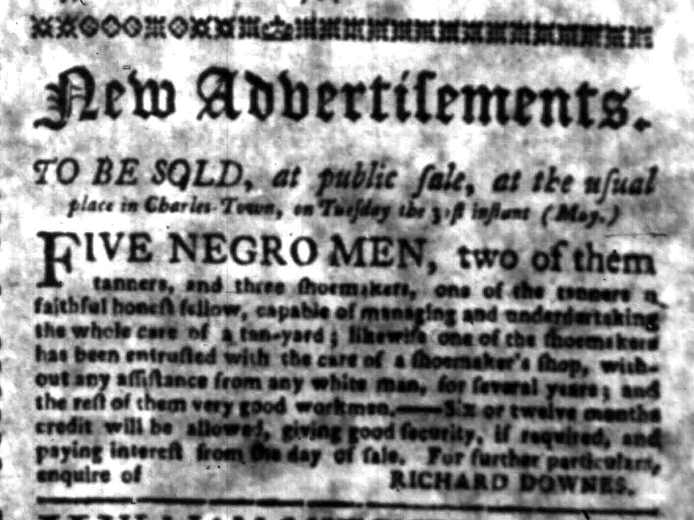 May 23 - South Carolina Gazette Slavery 2