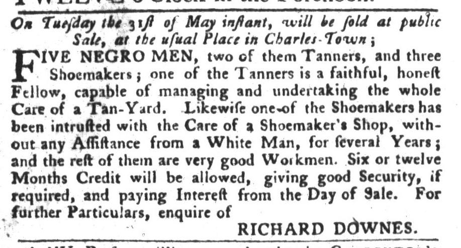 May 24 - South-Carolina Gazette and Country Journal Slavery 1