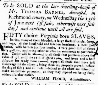 May 26 - Virginia Gazette Purdie and Dixon Slavery 2