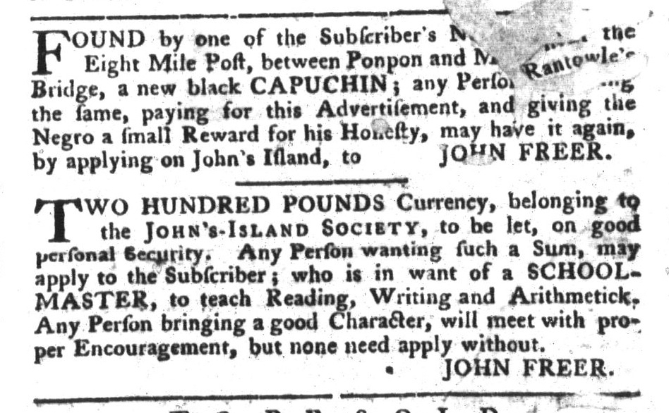 May 3 - South-Carolina Gazette and Country Journal Supplement Slavery 5