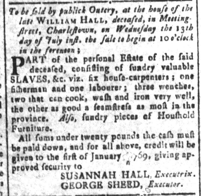 Jul 1 - South Carolina and American General Gazette Slavery 12