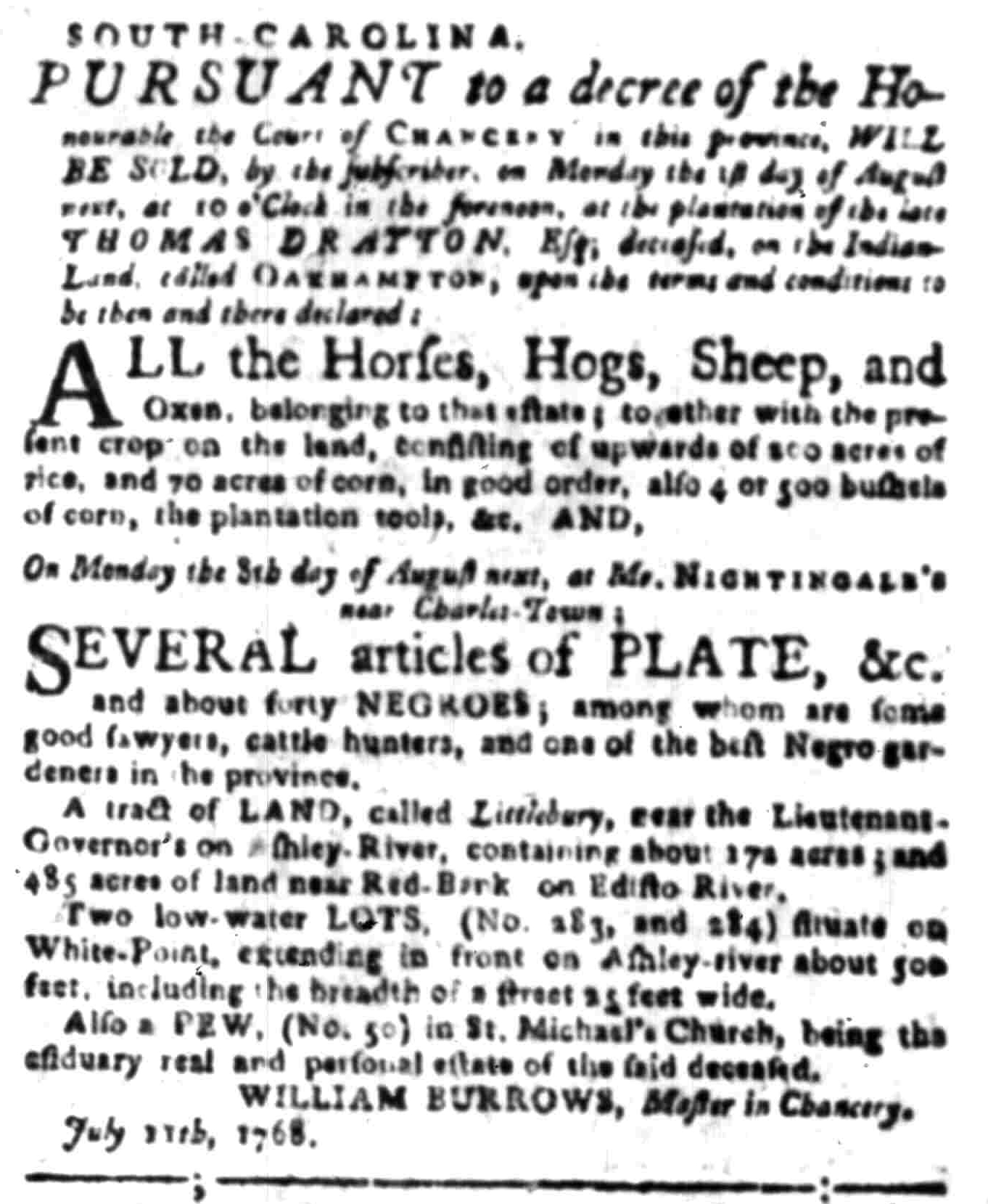 Jul 11 - South-Carolina Gazette Slavery 1