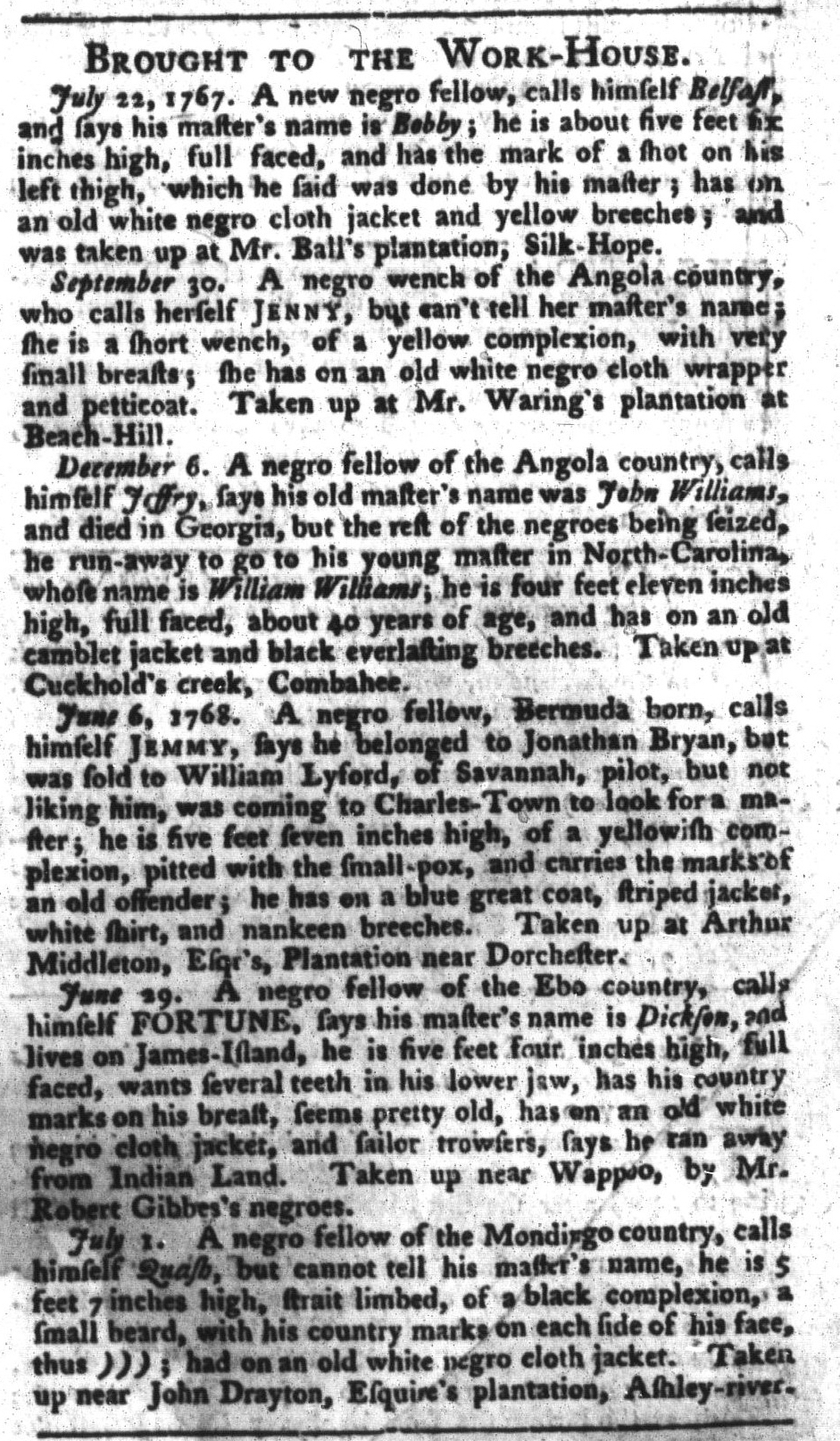 Jul 12 - South-Carolina Gazette and Country Journal Slavery 12