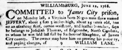 Jul 14 - Virginia Gazette Purdie and Dixon Slavery 4