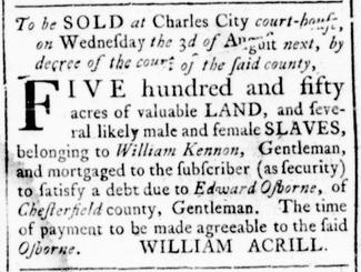 Jul 14 - Virginia Gazette Rind Slavery 1