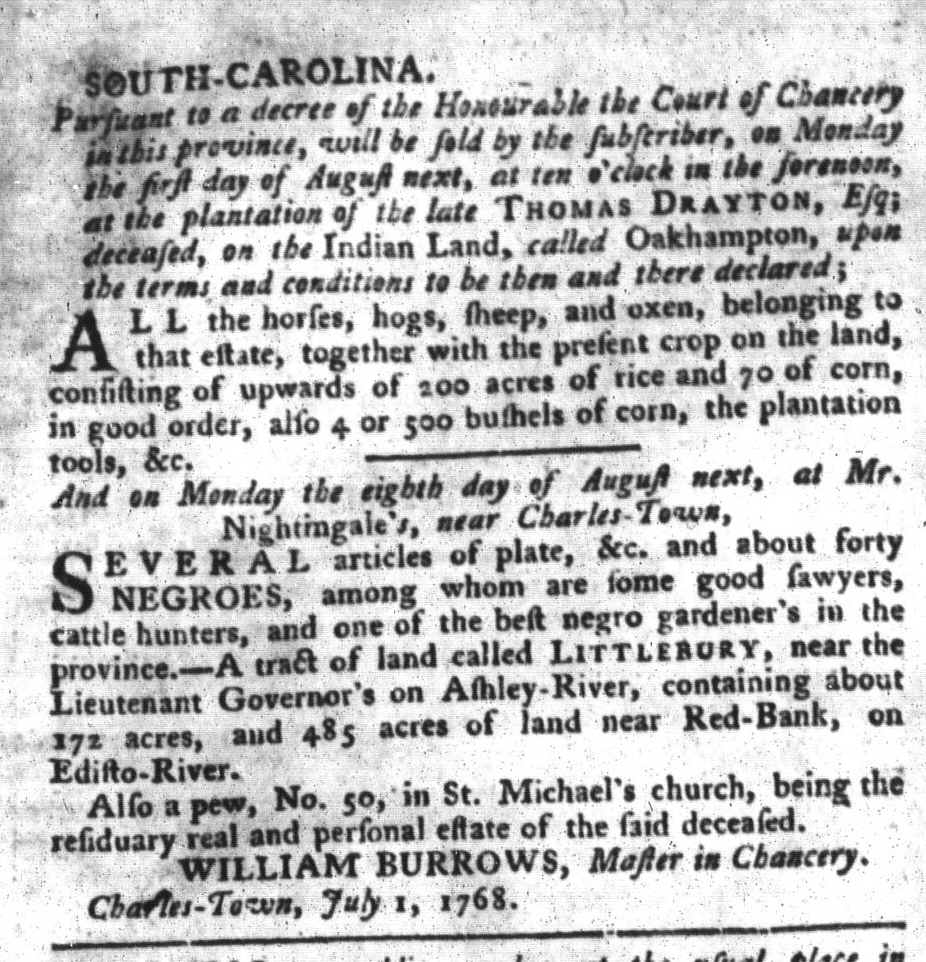 Jul 5 - South-Carolina Gazette and Country Journal Slavery 6