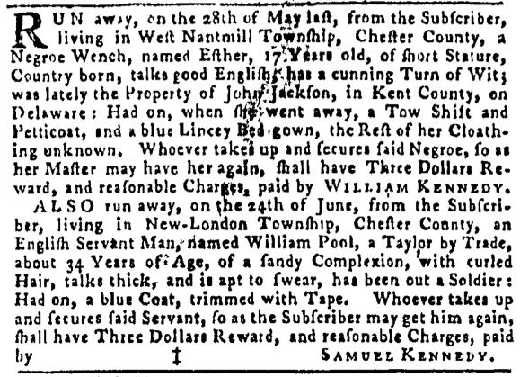 Jul 7 - Pennsylvania Gazette Slavery 1