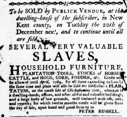 Jul 7 - Virginia Gazette Purdie and Dixon Slavery 5