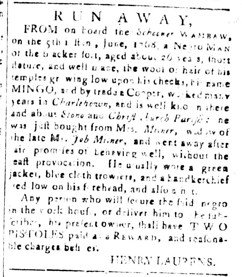 Jul 8 - South Carolina and American General Gazette Slavery 16