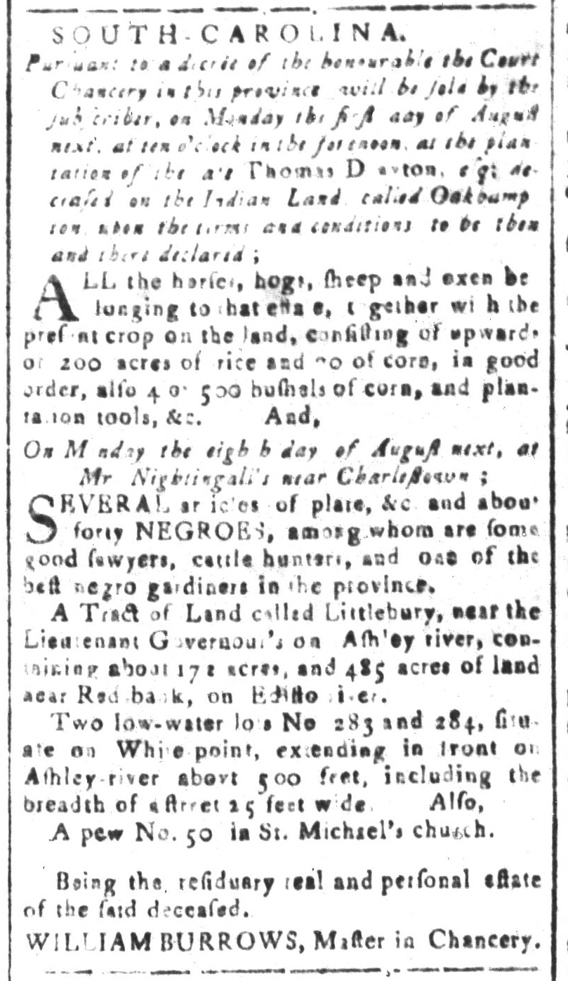 Jul 8 - South Carolina and American General Gazette Slavery 2