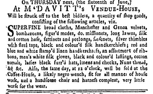 Jun 13 - New-York Gazette Weekly Mercury Slavery 1