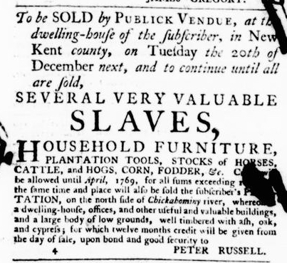 Jun 16 - Virginia Gazette Purdie and Dixon Slavery 1