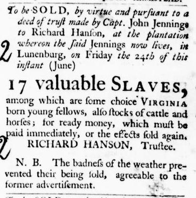 Jun 16 - Virginia Gazette Purdie and Dixon Slavery 3