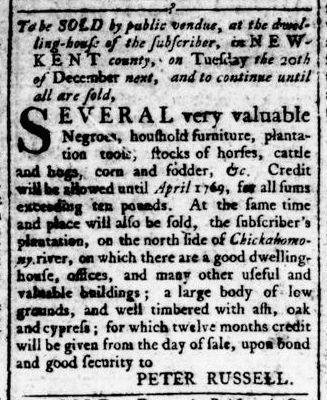 Jun 16 - Virginia Gazette Rind Slavery 1