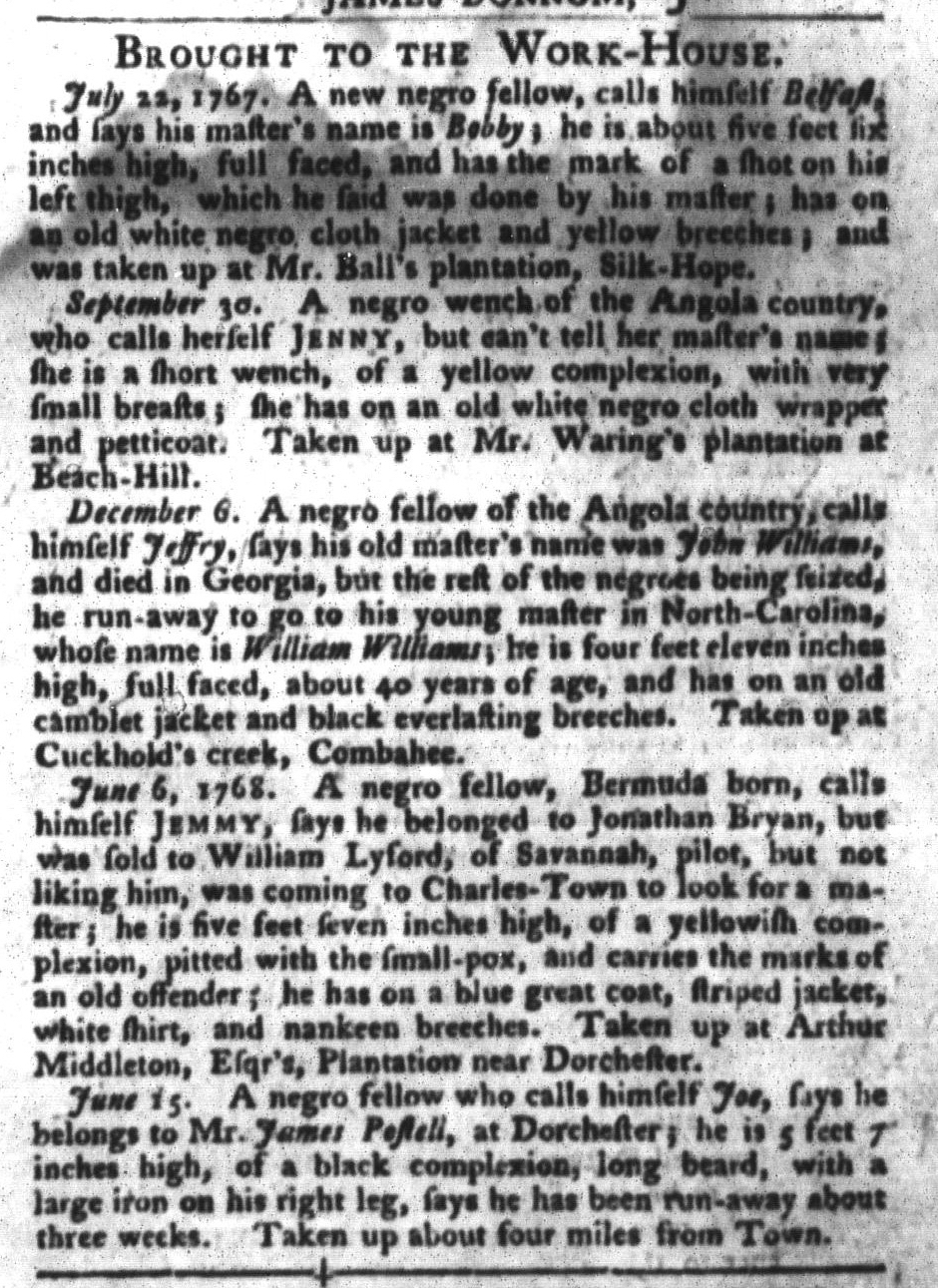 Jun 21 - South-Carolina Gazette and Country Journal Slavery 9