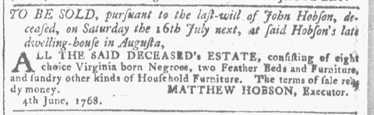 Jun 22 - Georgia Gazette Slavery 9