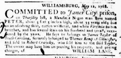 Jun 23 - Virginia Gazette Purdie and Dixon Slavery 8