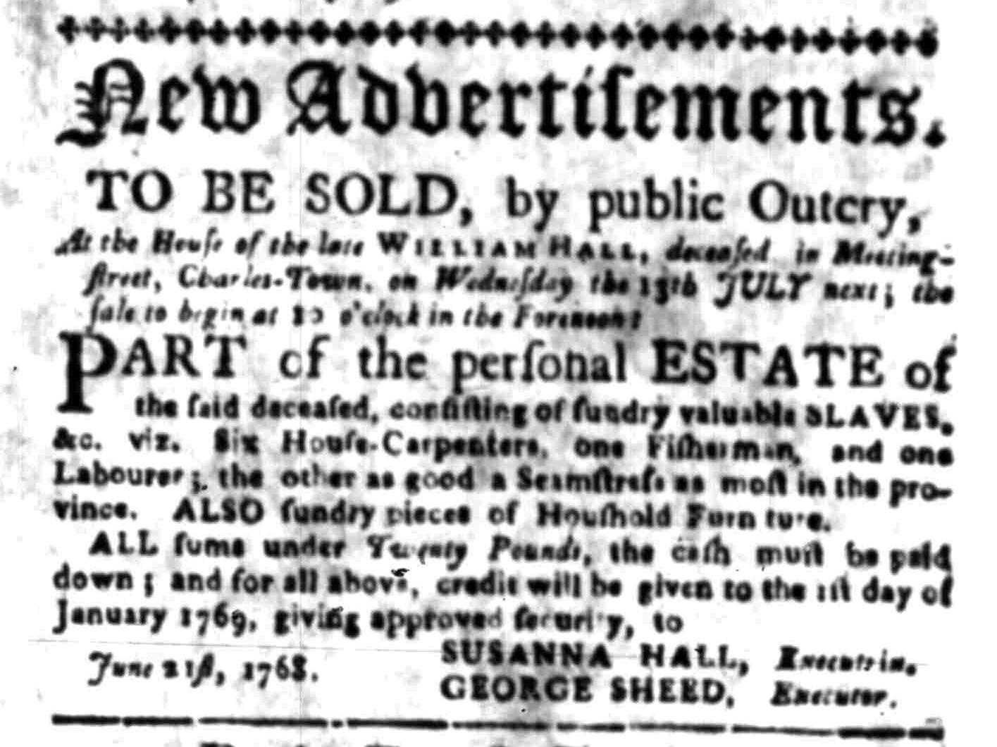 Jun 27 - South Carolina Gazette Slavery 1
