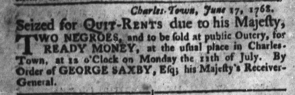 Jun 28 - South-Carolina Gazette and Country Journal Slavery 10