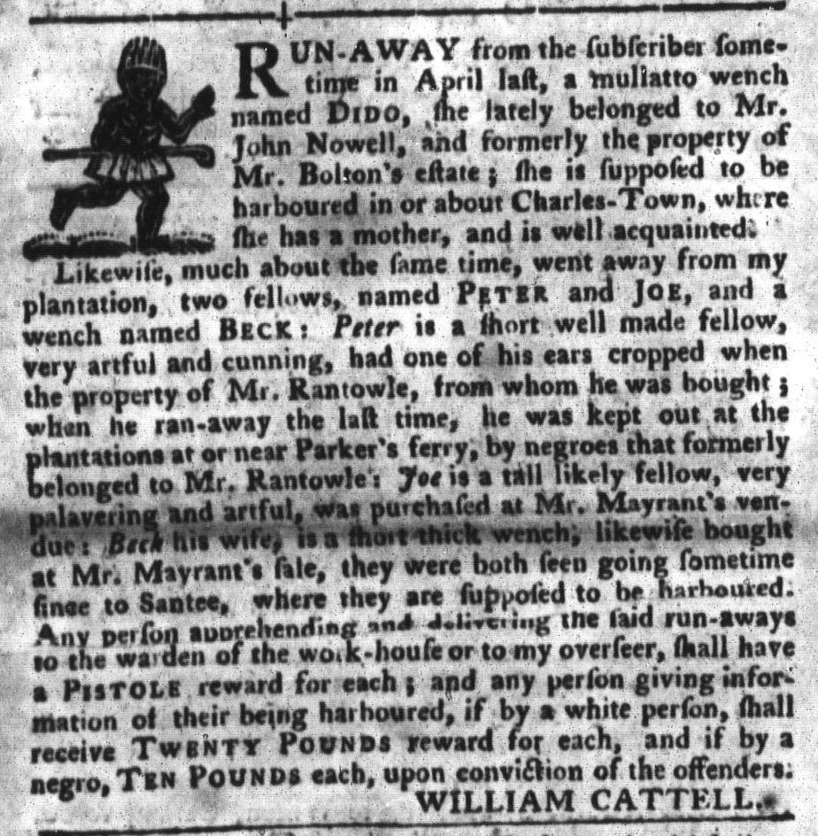Jun 28 - South-Carolina Gazette and Country Journal Slavery 13