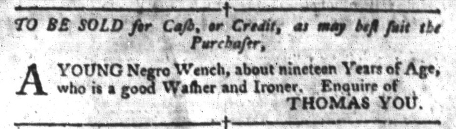 Jun 28 - South-Carolina Gazette and Country Journal Slavery 4
