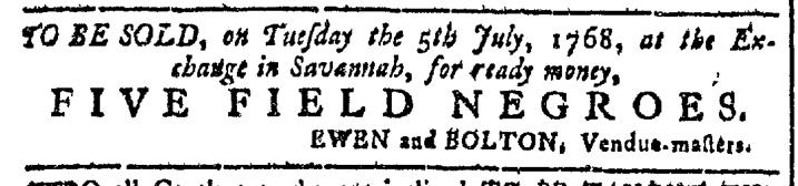 Jun 29 - Georgia Gazette Slavery 1