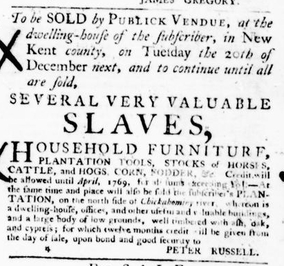 Jun 30 - Virginia Gazette Purdie and Dixon Slavery 8