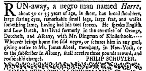 Jun 6 - New-York Gazette Weekly Mercury Supplement Slavery 2