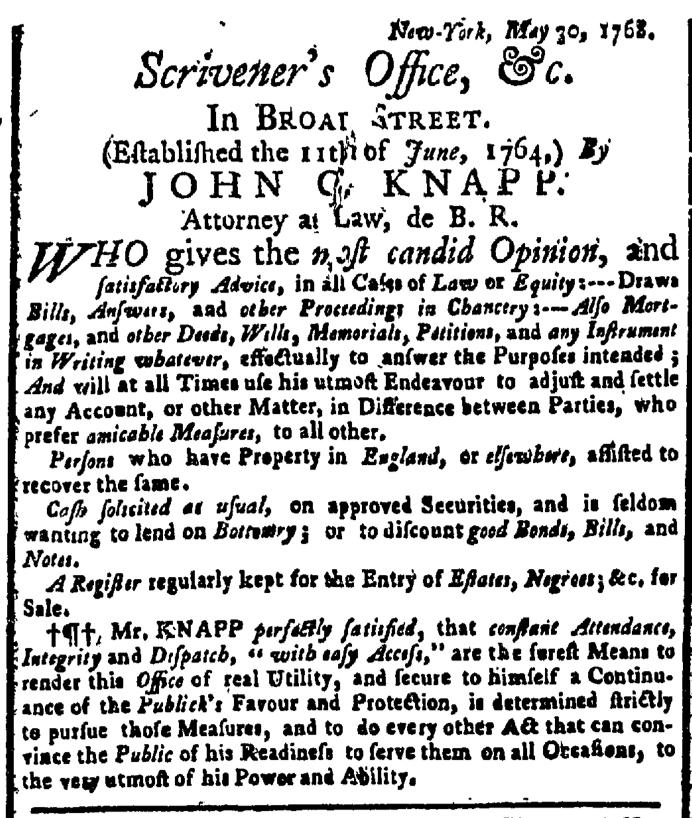 Jun 6 - New-York Gazette Weekly Post-Boy Slavery 1