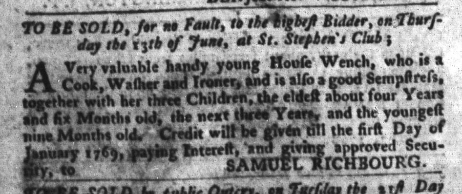 Jun 7 - South-Carolina Gazette and Country Journal Slavery 4