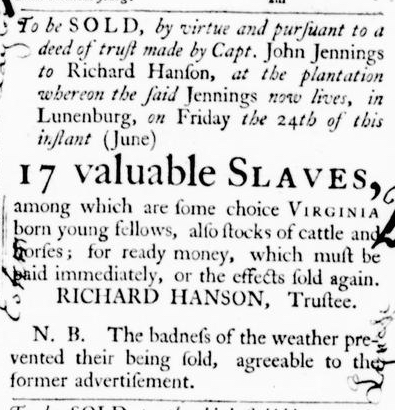 Jun 9 - Virginia Gazette Purdie and Dixon Slavery 2